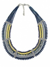 Blue & Cream Beaded Collar Necklace